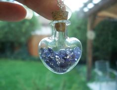 Natural Faceted Tanzanite in a Heart Shaped Glass Bottle Pendant with Sterling…
