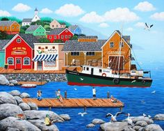 Folkart Painting - Fish And More Fish by Wilfrido Limvalencia Illustrations, Illustration Art, Cottage Art, Cat Quilt, Coastal Art, Naive Art, Country Art, Pictures To Paint, Pretty Art