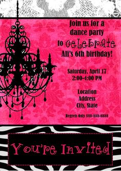 Chandelier Damask Zebra Birthday Invitation by Extravaganzas, $12.50