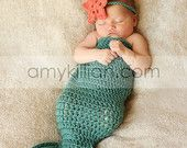 I wanna make one of these! Crochet Mermaid Tail & Headband Photography Prop - Newborn.