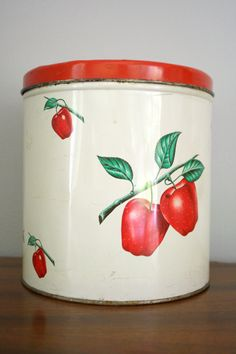 50s Large Apple Canister Tin Farmhouse Kitchen Decor by oldgrowth, $8.00