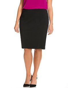 Sleek & modern with subtle stretch for a smooth silhouette, our Sexy Stretch pencil skirt is a feminine staple for work-to-weekend style. Vented back. Zipper with hook & eye closure. lanebryant.com