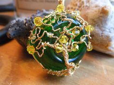 Tree of Life Pendant  Green and Yellow  Gold with by JbellsGems, $35.95