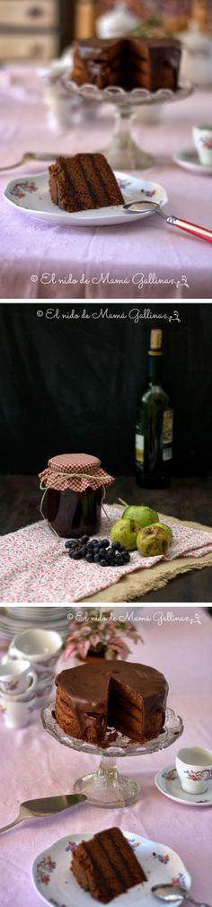 Tarta de chocolate y jalea de vino tinto / http://elnidodemamagallina.blogspot.com.es/