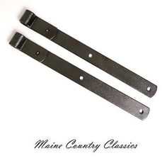 Pair-of-Vintage-17-INCH-CAST-IRON-STRAP-HINGES-Barn-Door-or-Gate-Restored