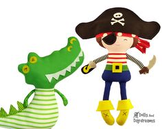 Captin Hook and Crocodile by Dolls And Daydreams