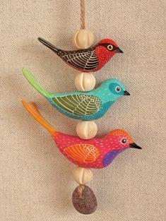 Vogel aus Ton Kette Deko bastelidee