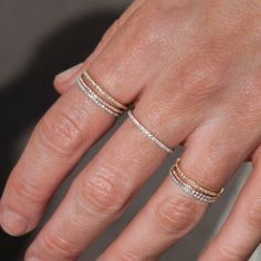 At Anne Sisteron Fine Jewelry, Buy 14kt yellow gold diamond eternity stacking ring online #ringly #finerings #DiamondEternityRings