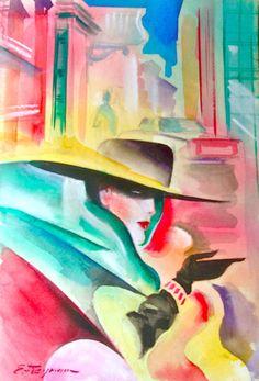 "Erik Freyman ""That's New York"" Original Watercolor/Pastels Painting on Paper #ArtDeco"