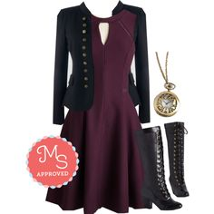 In this outfit: Moxie Must-Have Dress, I Glam Hardly Believe It Blazer, Always Tea Time Necklace, Reign Victorian Boot #fashion #outfits #boots #vintage #dresses #ootd #outfits #ModCloth #ModStylist