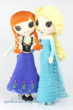 Anna And Elsa Crochet Amigurumi Dolls by Npantz22.deviantart.com on @deviantART
