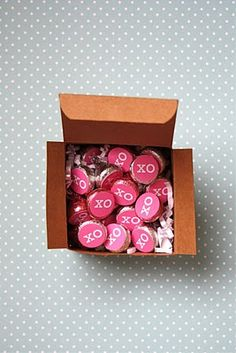 Box of Hugs and Kisses (with link to printables for Hershey's chocolate hugs) and a label for the outside of the box.