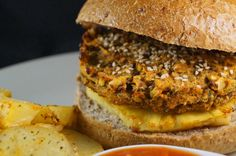 Thai Style Veggie Burgers topped with Caramelized Pineapple and Sweet Chilli Sauce