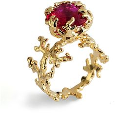 SALE 20% OFF CORAL Ruby Engagement Ring, Statement Ring, Gold Ruby... ($184) ❤ liked on Polyvore featuring jewelry, rings, ruby engagement rings, yellow gold rings, gold ring, imitation engagement rings and yellow gold ruby ring