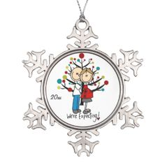 """Pretty snowflake shaped ornament features a stick figure expectant couple with text that reads """"We're Expecting!"""". You can easily change the date to the current year. #holiday #personalized #customized #dated #family #expecting #baby #pregnant #christmas #expectant #couple #baby #on #way #xmas #keepsake"""