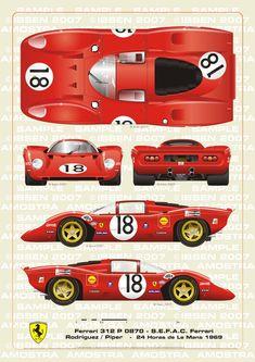 Ferrari 312 P Coupe Le Mans 1969 Rodriguez-Piper by ibsenop on DeviantArt Racing Car Design, Sports Car Racing, Sport Cars, Race Cars, Vintage Sports Cars, Vintage Racing, Vintage Cars, Automobile, Volkswagen Karmann Ghia