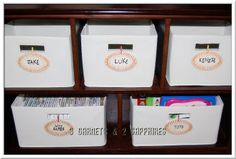 Easy-to-make interchangeable labels for canvas bins.