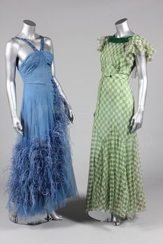 1930's, Green and white chequered tulle bias cut gown and a Blue crepe and tulle gown adorned with ostrich plumes