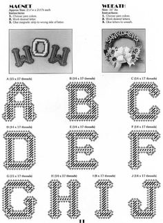 Plastic Canvas Letters, Plastic Canvas Crafts, Alphabet And Numbers, Alphabet Letters, Alphabet Design, Flower Coloring Pages, Craft Sale, Canvas Patterns, Yarn Colors