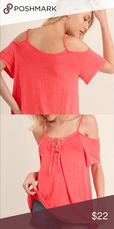 """Umgee USA  Washed Open Shoulder Top Umgee USA  Washed Open Shoulder Top Size Medium Other sizes available   *Model is 5'7"""" and is wearing a small. *All Measurements are approximate. Umgee USA Tops"""