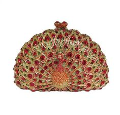 Swarovski Crystals! Red Peacock Purse Clutch Evening Bag Handbag 6.5 Lined Hinged Detachable Strap Limited Edition by Sparkling Collectibles, http://www.amazon.com/dp/B00A44MZ3C/ref=cm_sw_r_pi_dp_QnKLrb1TA0Y5Z