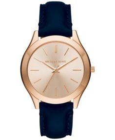 c8cdce576f67 Michael Kors Women s Slim Runway Blue Leather Strap Watch 42mm MK2466  Jewelry   Watches - Watches - Macy s. Michael Kors GoldMichael ...