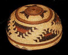 """Hupa Basket Hat. Willow, pine root, bear grass, maidenhair fern, woodwardia. 4""""H x 7""""D. LBD"""