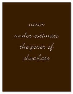 Never under-estimate the power of Chocolate, especially Dark Chocolate!