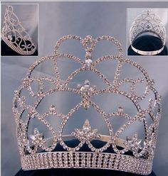 This tiara, is dramatic and elegant, timeless and classic. With towering spires and scroll design, this breathtaking headpiece will make you the center of attention. Crafted with fully faceted clear c