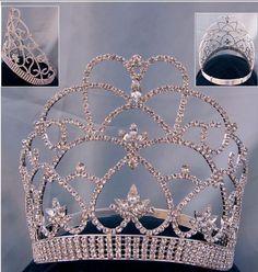 Beauty Pageant Queen, Princess rhinestone contoured crown tiara