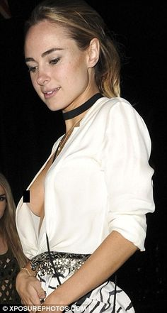 Slip: Blonde beauty Kimberley's top stayed together for much of the night, but betrayed her toward the end