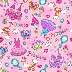Cute princess elements pattern vector - Vector Pattern free download