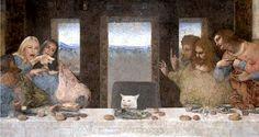 the last supper - leonardo da vinci - confused cat - woman yelling at a cat - meme - funny - memes - Funny Memes Top Memes, Dankest Memes, Funny Memes, Hilarious, Funny Sayings, Zombie Prom Queen, Last Supper, Spongebob Memes, Harry Potter Memes