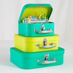 The Land of Nod | Kids Storage: Storage Suitcases in Tabletop Storage.  Comes in TONS of color options