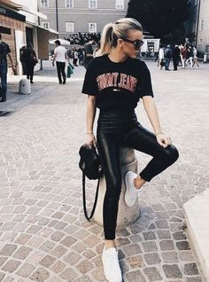 Our black glossy leggings look just like your favorite pair of leather leggings only better! | Our glossy black leggings can be paired with an oversized tee or crop top for a simple yet elegant look #summer#summeroutfit #athleisurestyle#athleisurewear #nycfashion#lafashion #streetwear#affordablefashion #streetstyle#athleisure #casualstyle#leatherleggings#streetstyleblogger#minimalistfashion#fashionblogger#summertime#ootd #sportsbra#collegegirls #ootd #loungewear#everydaylook #athleisure