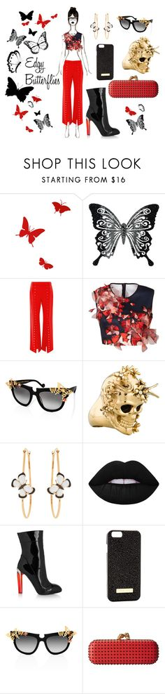 """""""Edgy Butterflies"""" by blackdoor ❤ liked on Polyvore featuring Diamantini & Domeniconi, MARBELLA, Rosie Assoulin, Clover Canyon, Anna-Karin Karlsson, Alexander McQueen, Christina Debs and J'adore Adorn"""