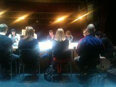 Ensimmäisessä lukuharjoituksessa 2.5.2012 on paikalla koko tuotantotiimi: näyttelijät, suunnittelijat, tekniikan väki, tiedottajat. #Veriveljet #Tampere #Teatteri