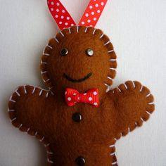3 Felt Gingerbread Men Handmade Ornaments