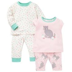 Buy John Lewis Baby's Pyjamas, Pack of 2, Pink/White Online at johnlewis.com