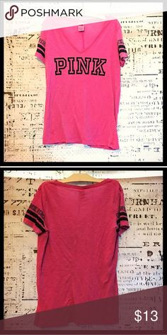 Victoria's Secret PINK perfect V Neck Tee, large Victoria's Secret PINK perfect V Neck Tee, large : This relaxed fit style deep V neck is no longer made or sold in stores. The highly desired fit and design will keep you feeling gorgeous all day. This has been gently loved. The only imperfections is very minimal pilling under the arm area, it's not bad and can't be seen under the arms. It still holds great colors as you can see and has not shrunk, as it has only been hung dried. Will be…
