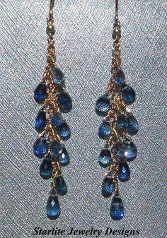 Something Blue ~ Sapphire Briolette Dangle Earrings ~ Set in Solid 14K Gold ~ Handmade by www.StarliteJewelryDesigns.com