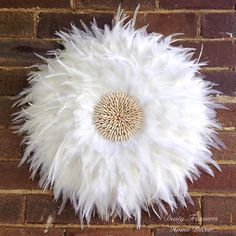 Pure White real feathers juju hat wall decor designed and hand made by dusty treasures home decor