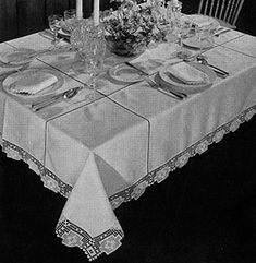 Festival Tablecloth #crochet pattern originally published in Modern Table Settings, Spool Cotton Book 88.