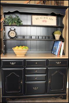 this woman has some amazing before and after furniture projects Furniture Making, China Hutch Redo, Painted China Hutch, China Hutch Makeover, Paint Furniture Black, Painting Furniture, Distressed Furniture, Old Furniture, Furniture Makeover