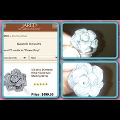 Diamond flower ring from Jared Jewelry  .925 sterling silver ring has one diamond missing. Needs cleaning. Reasonable offers accepted. REDUCED!!!! Jewelry Rings