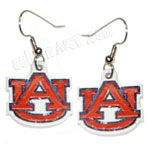 Auburn Tiger Logo Orange and White AU Charm Dangle Earrings.