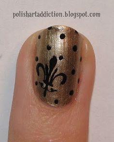 New Orleans Saints Nails Novembrino Provencher.my kinda nails. Basketball Nails, Football Nails, Saints Football, Nfl Football, Love Nails, How To Do Nails, Fun Nails, Style Nails, Pretty Nails