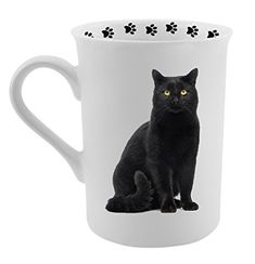 Dimension 9 Black Cat Coffee Mug, White