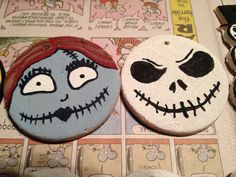 Hand painted salt dough ornaments I did for our nightmare theme. Jack & Sally ornaments.