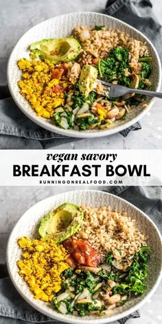 This savory breakfast bowl makes a healthy, balanced option for a plant-based breakfast. It contains healthy fats, complex carbohydrates and protein to cover all your macronutrients and it's full of f Healthy Vegan Breakfast, Savory Breakfast, Breakfast Bowls, Healthy Snacks, Healthy Breakfasts, Healthy Eating, Healthy Fats, Protein Snacks, Breakfast Smoothies